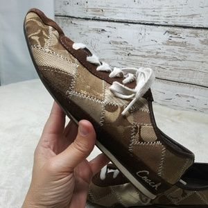 Coach/ 'TIDY' Brown gold patchwork sneaker